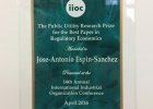 The Public Utility Resarch Prize for Best Paper in Regulatory Economics (Photo: Espín-Sánchez)