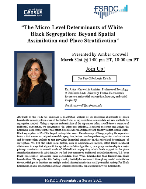 YFSRDC Event Poster - The Micro-Level Determinants of White-Black Segregation: Beyond Spatial Assimilation and Place Stratification