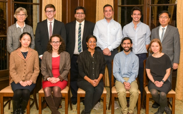 Group photo of 2019 Teaching Prize Fellows with GSAS Dean Lynn Cooley (back row - left) and Yale College Dean Marvin Chun (back row - right) - Ayhyan Panjwani back row, third from left