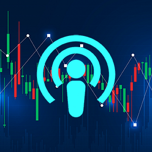 Podcast icon with econ graph background