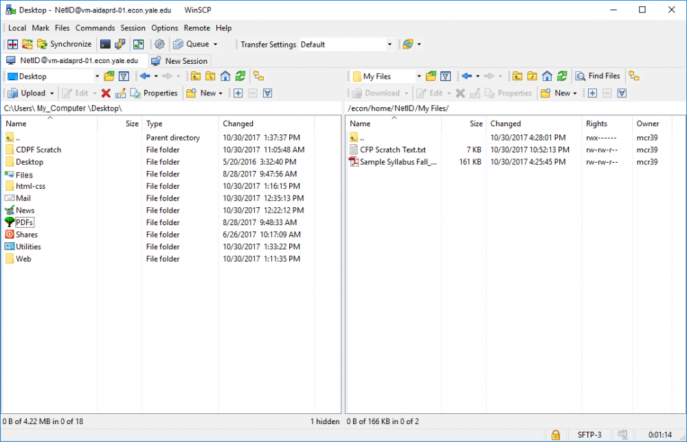 Faculty - Connecting to Aida using WinSCP Client (Windows