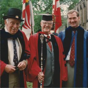 ames Tobin, Lloyd Reynolds and David Swensen at Yale's Commencement late 1980s