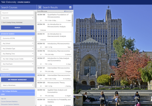 Yale Course Search Webpage
