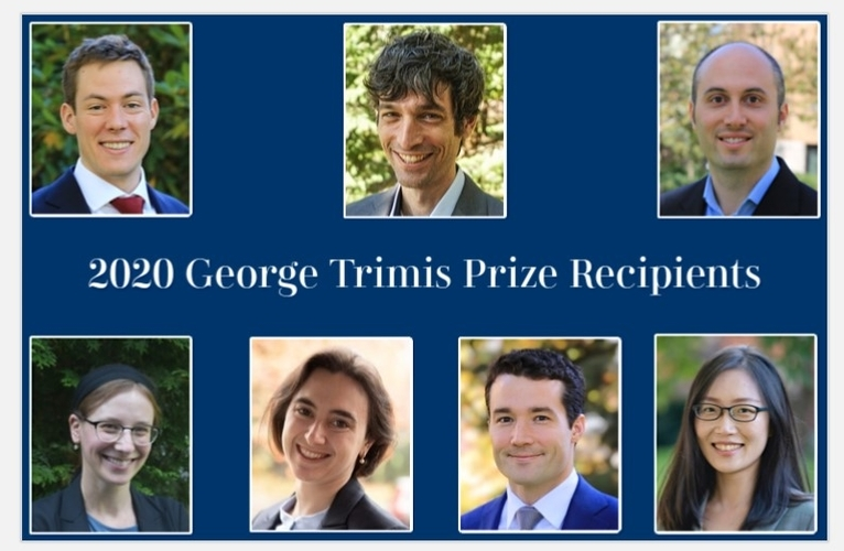The 2020 prize Winners: Ian Ball, Ro'ee Levy, Oren Sarig, Hannah Trachtman, Katherine Wagner, Conor Walsh, and Pengpeng Xiao
