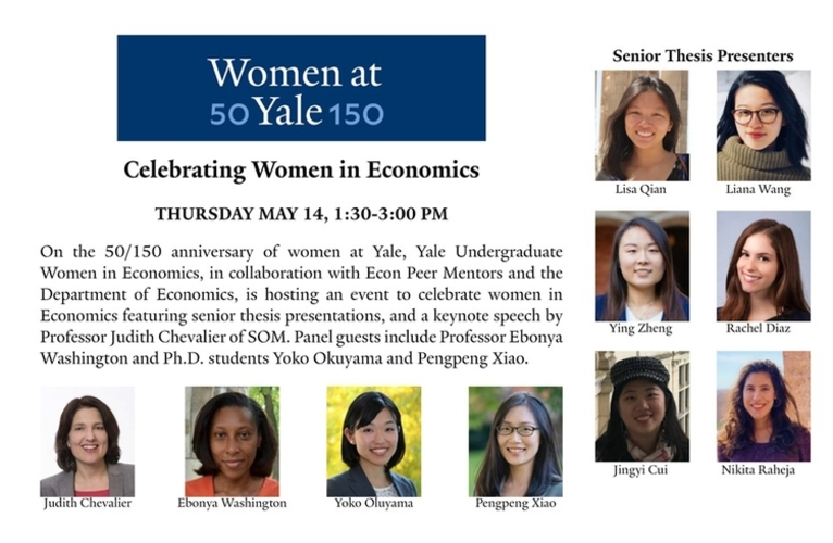 A CELEBRATION OF  WOMEN IN ECONOMICS AT YALE  MAY 14, 2020,1:30-3PM EDT  FEATURING A HISTORY OF WOMEN IN ECONOMICS AT YALE AND RESEARCH PRESENTATIONS BY CURRENT STUDENTS AND FACULTY