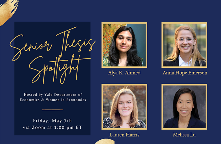 WiE Senior Thesis Spotlight Poster with Lu, Harris, Emerson and Ahmed photos