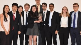 Yale 2018 Fed Challenge Team Members with first-place trophy