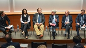Members of the panel included (left to right) Jamil Anderlini, Jing Tsu, Nuno Monteiro, Peter Salovey, Stephen Roach, and Aleh Tsyvinski. (Photo by Michael Marsland)