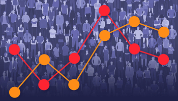 Stock illustration — a mass of people with a line graph overlaid on top