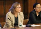 Amanda Bayer (left) with Dean Michelle Nearon at Inclusion in the Classroom panel discussion