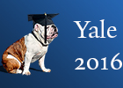 Yale 2016 commencement poster - bulldog with morter cap