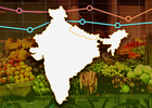 Silhouette of India with fruit, vegitables, and graph lines in the background and