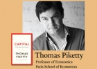 "Thomas Piketty with book cover of  ""Capital in the 21st Century"""