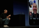 Steve Jobs on stage facetiming with iPhone
