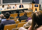 The Yale Carbon Tax task force committee members addressing an audience