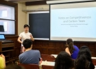 Michael Wang '17 presenting his work at a lunch seminar for Scarf Fellows