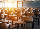 School classroom with empty chairs