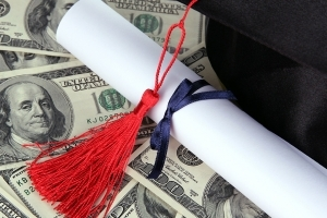 Cash, college degree,and mortar cap