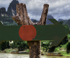 A wooden sign with the Bangladeshi flag painted on, with a forest in the background