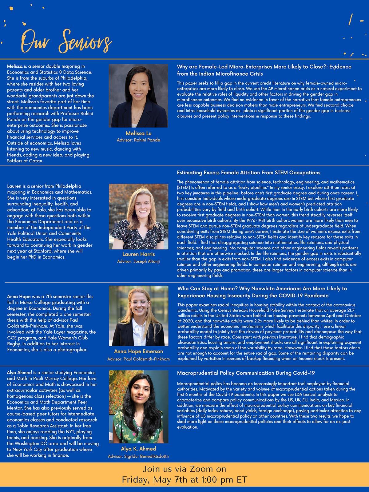 Women in Economics Senior Thesis Spotlight bios